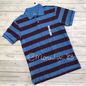 NWT GAP blue stripe men's polo shirt M XL